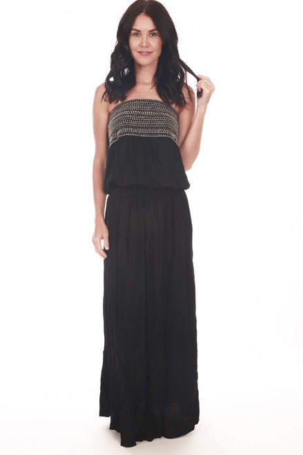 Embellished Strapless Maxi Dress