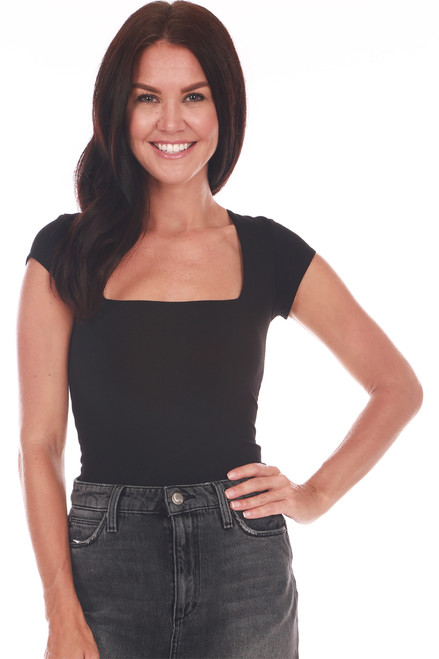 Front shows a straight across square neckline bodysuit top with short sleeves and snap closure at bottom.shown worn with grey high waste jean skirt.