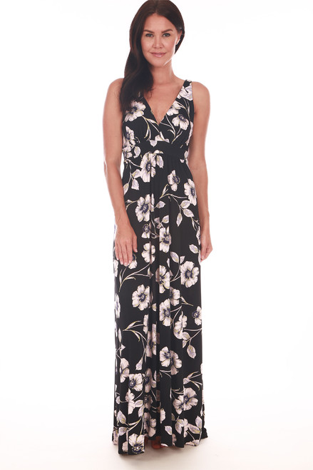 front shows black and  white floral patterned long maxi length with  low V-neckline at front & back.