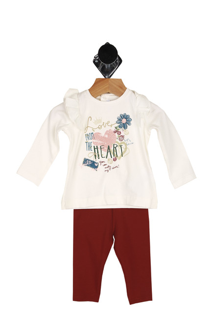 """Front shows two piece set featuring a long steep sleeve top with ruffle detailing at shoulders, """"From the heart"""" printed at front in glitter with flower & heart drawings and matching burgundy leggings."""