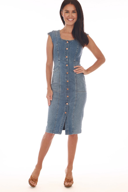 Julien Midi Denim Snap Dress