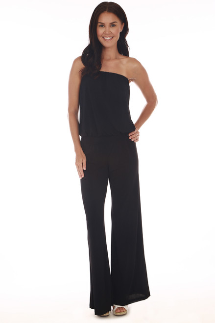 Front shows black jumpsuit with elastic band tube top, drop-waist line, wide legs and the stretchy material.