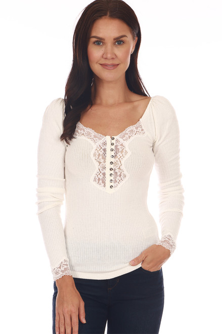 front shows a classy ivory long sleeve shirt with button up front, lace detailing at neckline and deep v at front & back. It sits on the shoulder or off, super stretchy rib-knit material.