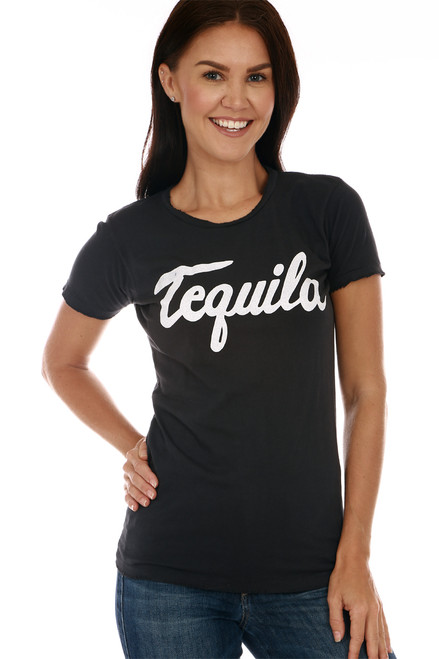 "Front shows black short sleeve tee with the word ""tequila"" at front. Shown warn with blue jeans."