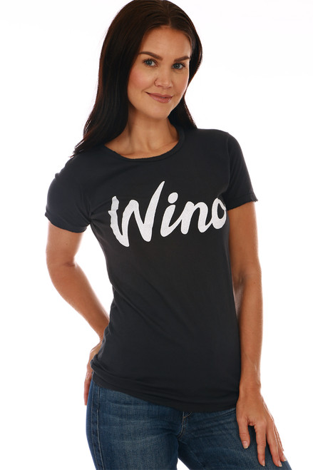 "Front shows black short sleeve tee with the word ""wino"" at front. Shown warn with blue jeans."