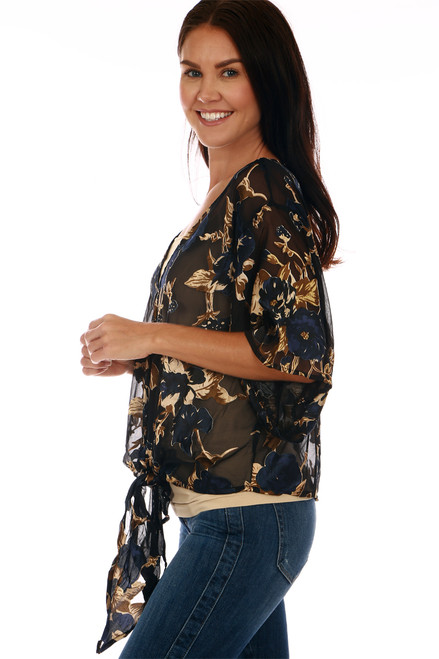 Satin Burnout Floral Tie Front Blouse