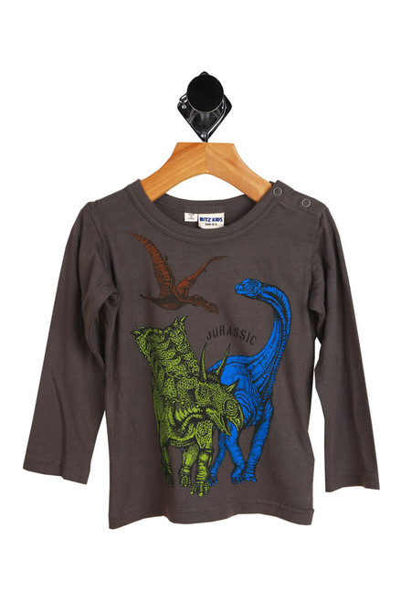 "front shows long sleeve grey dino tee with the word ""Jurassic"" and 3 colored dinosaurs printed at front and a snap closure on left shoulder for easier getting on and off."