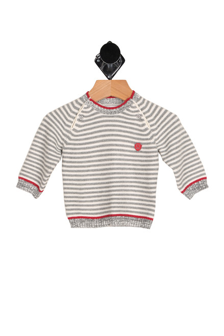 Front shows boys long sleeve red, white and grey striped sweater featuring a button closures at both shoulders, long sleeves, the softest knitted sweater material and a cozy fit.