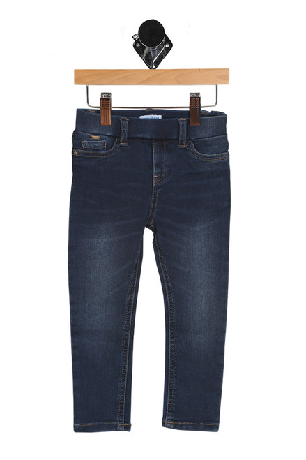 front shows blue long jeggings featuring a stretchy denim-like material, pull-on elastic waistband at top and super skinny fit. slightly faded look at thighs and knees.