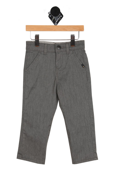 front shows grey Chino pants featuring a button & zipper closure at front, four total pockets and slim-straight leg hem for the perfect pants.