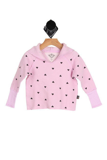 front shows pink hoodie featuring an all over black heart print with raw hemlines and the softest fleece-like material inside.