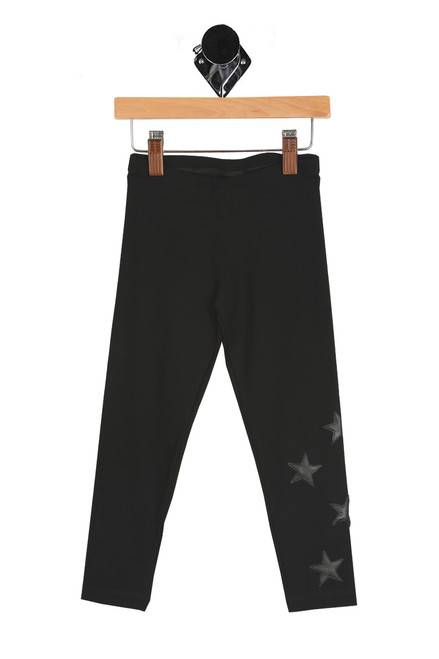 Black Leggings W/ Pleather Stars (Little Kid)