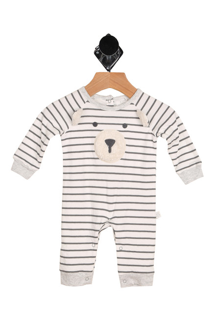 front shows onesie featuring a bear face at front with grey & white stripe pattern all over, 3-snap closure at top back and snap closure at legs.