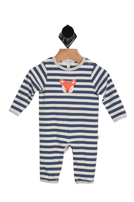 front shows long sleeve onesie featuring a stitched fox face at front with all-over blue and white stripe pattern, 2-snap closure at either shoulders and snap closure at bottom.