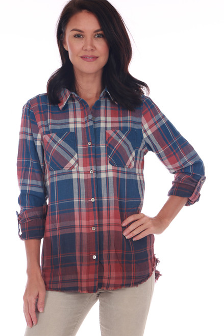 Front shows red and blue Fall inspired plaid blouse featuring a button up front, extremely soft material & dip-dyed bottom for a more unique look.
