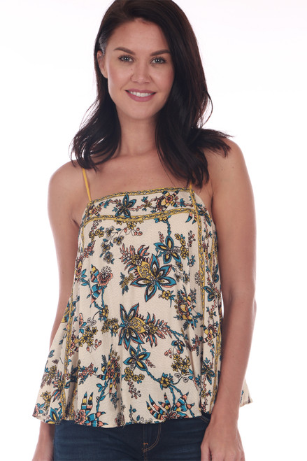 front show cream and yellow outlined tank featuring skinny adjustable spaghetti straps, a semi-cropped hemline & super flowy fit with and all over multi colored floral pattern.