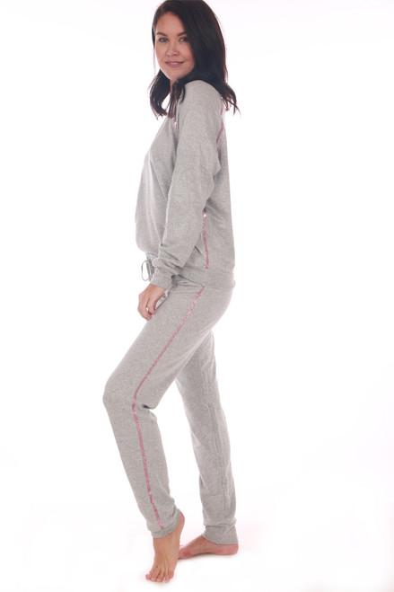Drawstring Sweatpants W/ Glitter Stripe
