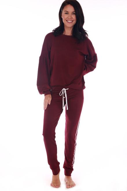 Drawstring Sweatpants W/ White Stripe