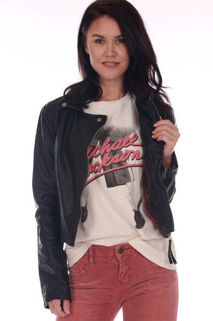 Front shows black faux leather jacket featuring a moto-style look with silver hardware, the softest faux leather material and pink & red print on inside. Shown worn with Michael Jackson tee and red jeans.