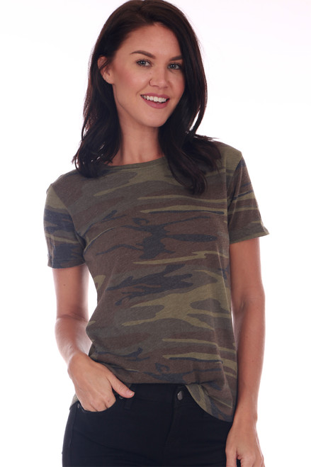 front shows basic short sleeve tee featuring a classic fit with all over camo print & crew neckline.
