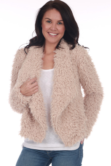 front shows campaign colored fuzzy coat featuring a soft faux fur-like material on the inside with a super soft lining on the inside, draped front collar and two side pockets!