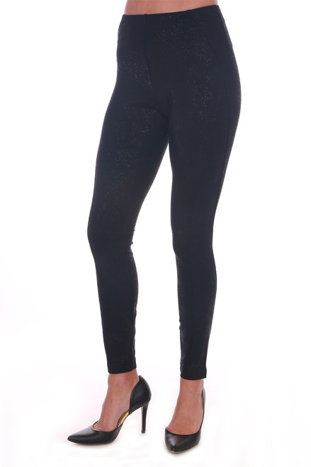 Black high waist leggings with pull-on fit, super skinny legs and a black shiny splatter all over.