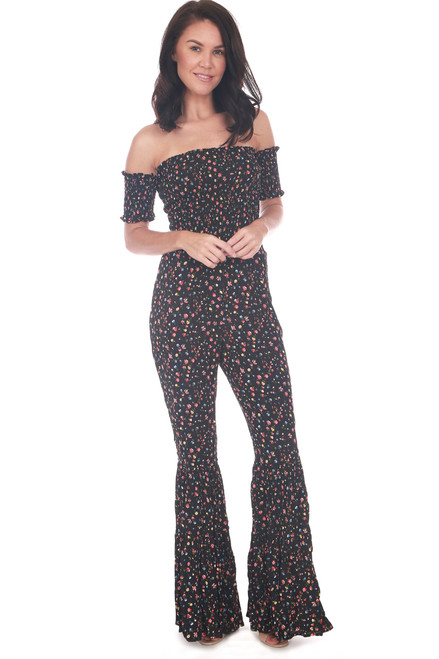 Smocked Floral Bell Bottom Jumpsuit