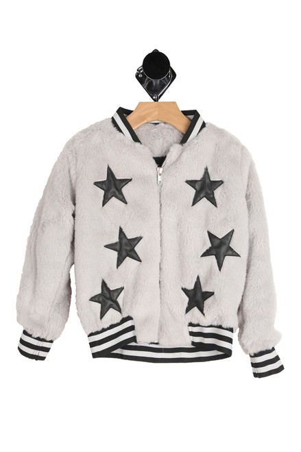 Kids grey faux fur Varsity style jacket with black faux leather stars on the front.  Collar, arm bands and waistband are striped black and grey.  Made of the softest faux fur with a soft and silky inside.