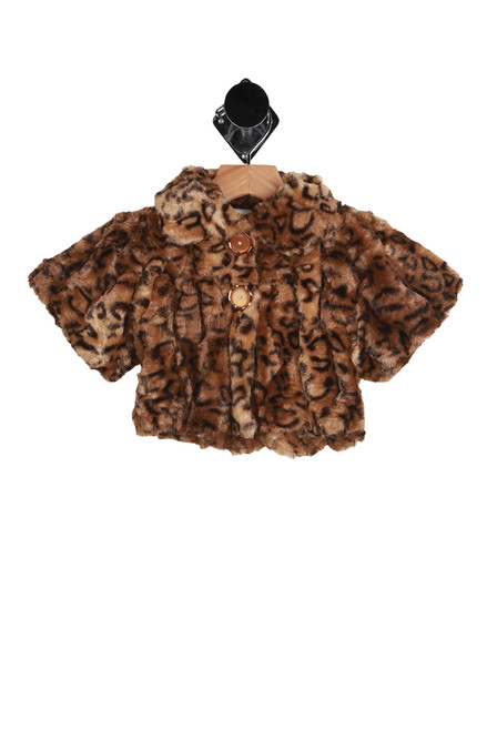 Faux fur kids leopard jacket.  Soft faux fur with 2-button closure at front and over-sized arms.