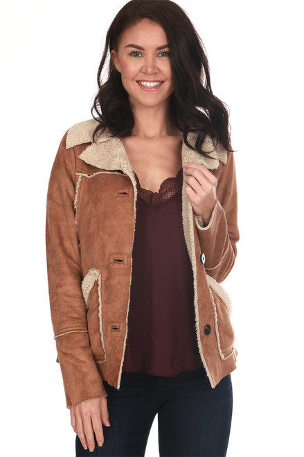 Dylan faux fur coat features a faux camel suede on the outside with inside faux shearling lining. Botton closure at front with a retro 70's look! True To Size. Shoulder To Hem Measurement: Approximately 23 in. 100% Polyester.  Machine Wash Cold, Tumble Dry Low.