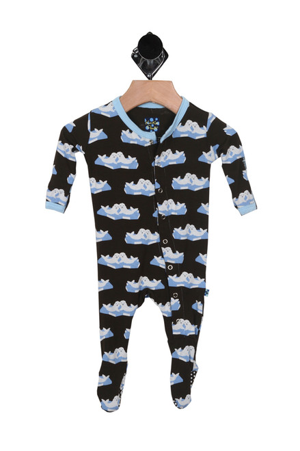 Front shows black Onesie with blue lining and blue seal sea pattern all over, comes with footie feature flip paws over hands and feet.