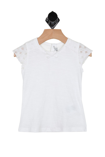 front shows little white tee featuring lace caplet sleeves with a snap up back closure and little bow at front.