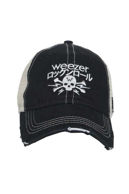 "Front shows black trucker hat featuring a distressed curved brim, mesh sides, adjustable plastic snap back, and embroidered white skull and ""Weezer"" logo at the front."