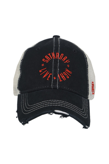 "front shows black trucker hat featuring a distressed curved brim, mesh sides, adjustable plastic snap back, and embroidered red ""Saturday night live"" logo at the front."