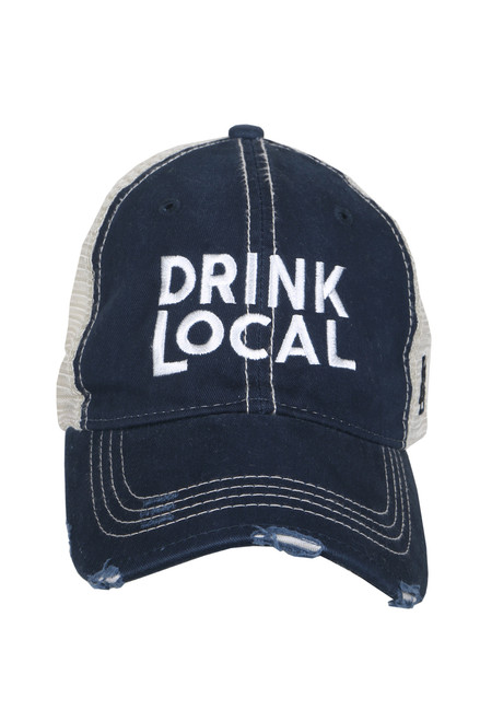"front shows navy blue trucker hat featuring a distressed curved brim, mesh sides, adjustable plastic snap back, and embroidered white ""drink local"" logo at the front."