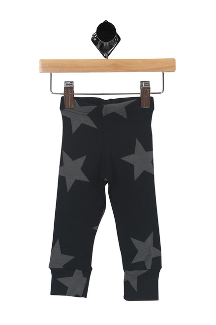 front shows black and grey sweat legging pants and with stars and Elastic waistband, wide ankle cuff, true to size.