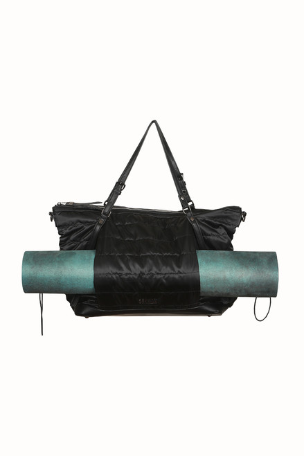 Front shows smooth black nylon duffle bag with zipper compartment for Yoga Mat Carrier function; Two side pockets and two straps.