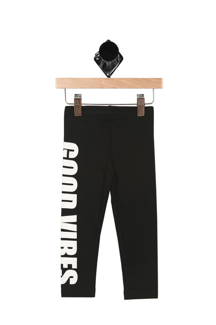 """Front shows black leggings feature """"GOOD VIBES"""" down side of right leg in bold white lettering with elastic waistband at top."""
