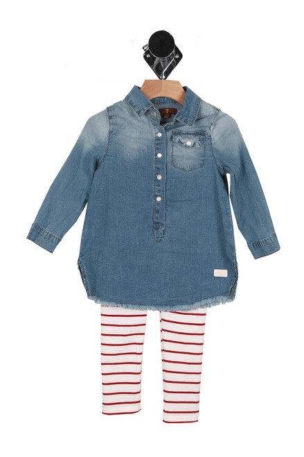 Front shows two piece set  with faded denim tunic top with snap closure at front and long sleeves red and white horizontal striped leggings.