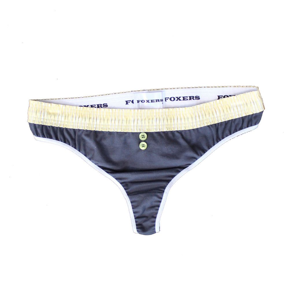 Yellow Stripe over Grey Thong B-String