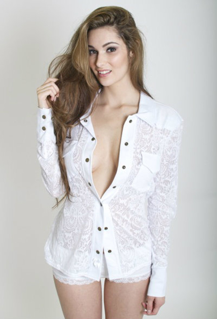 White Paisley Western Sheer Lounge Top