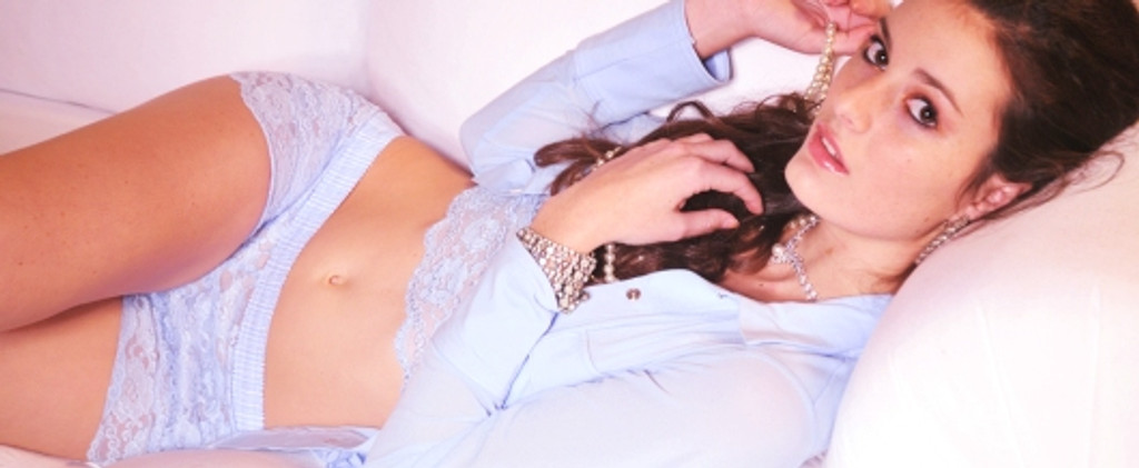 Light Blue Lace Top with Light Blue Polkadot Straps