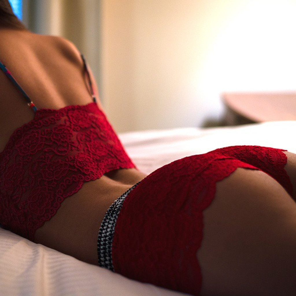 Red Lace Boxers with Houndstooth waistband