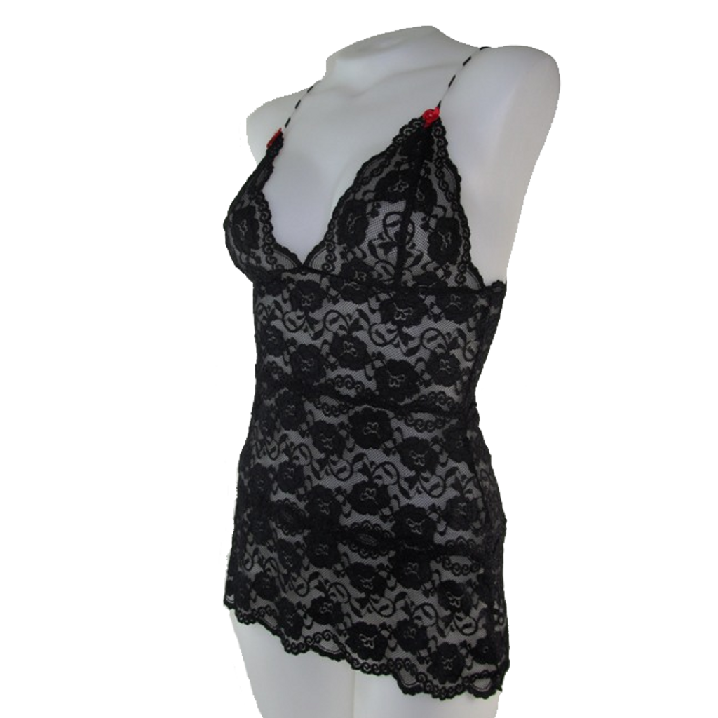 Black / Black Lace Hip Length Camisole