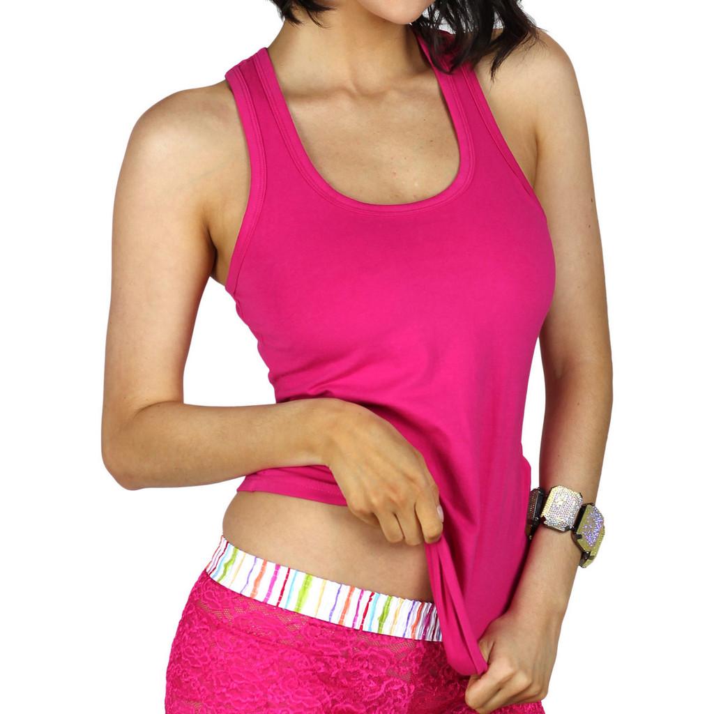 Fuchsia Pink Womens Tank Top with Shelf Bra