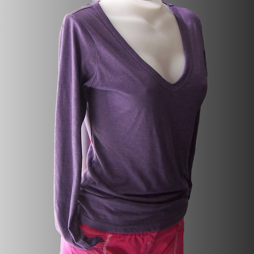 Soft V Neck Purple Long Sleeve Tshirt