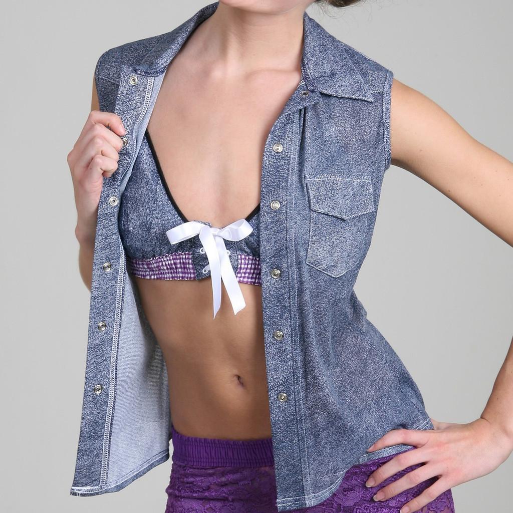Denim Print Sheer Western Shirt (Sleeveless)