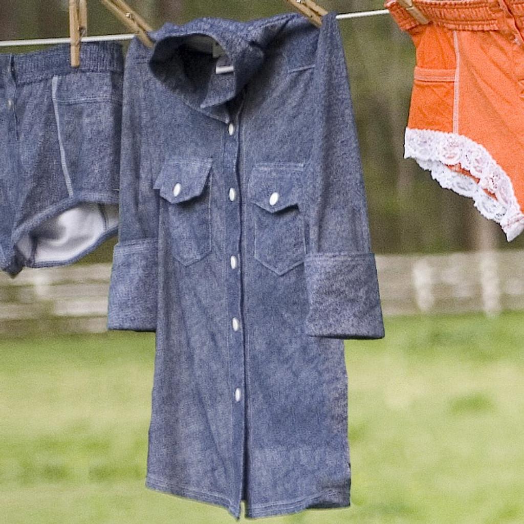 Denim Print Sheer Western Shirt (Half Sleeve)