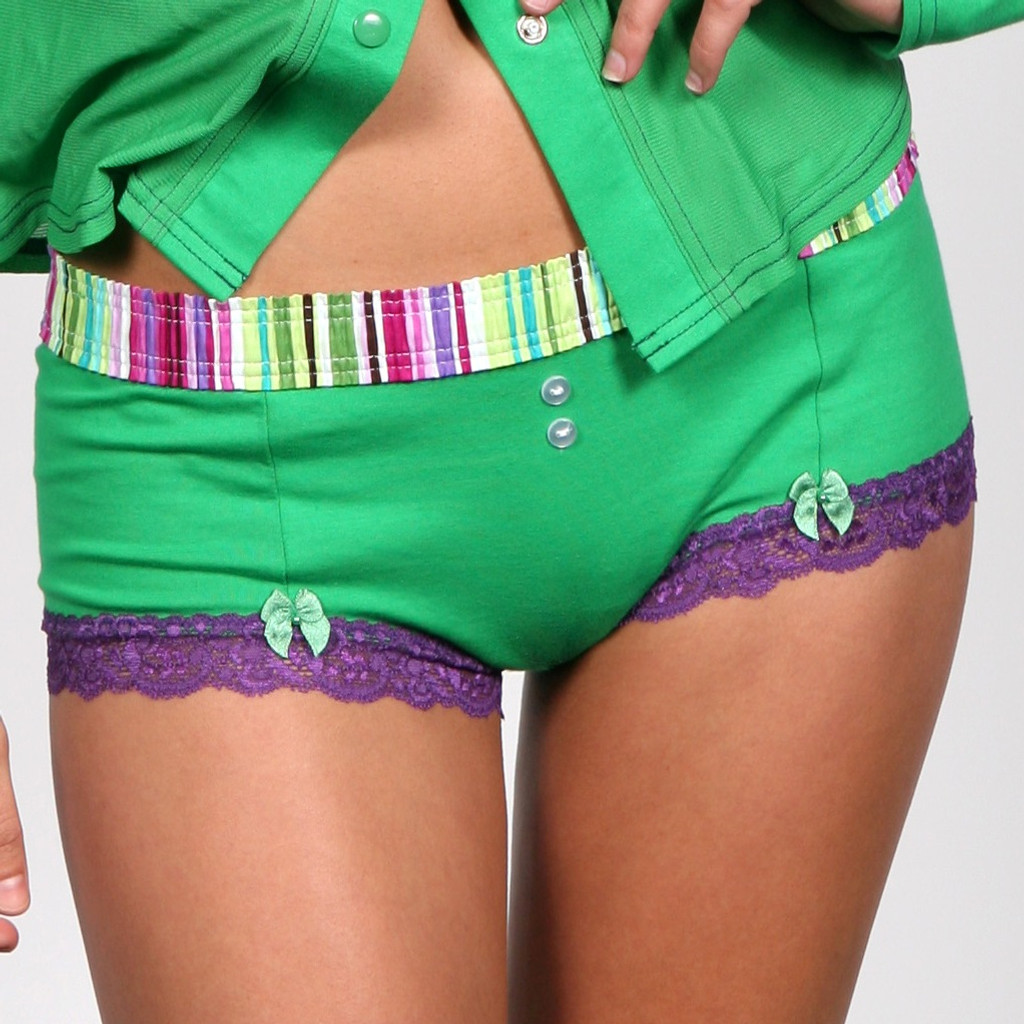 Purple/Lime Stripe over Kelly Green Boyshort