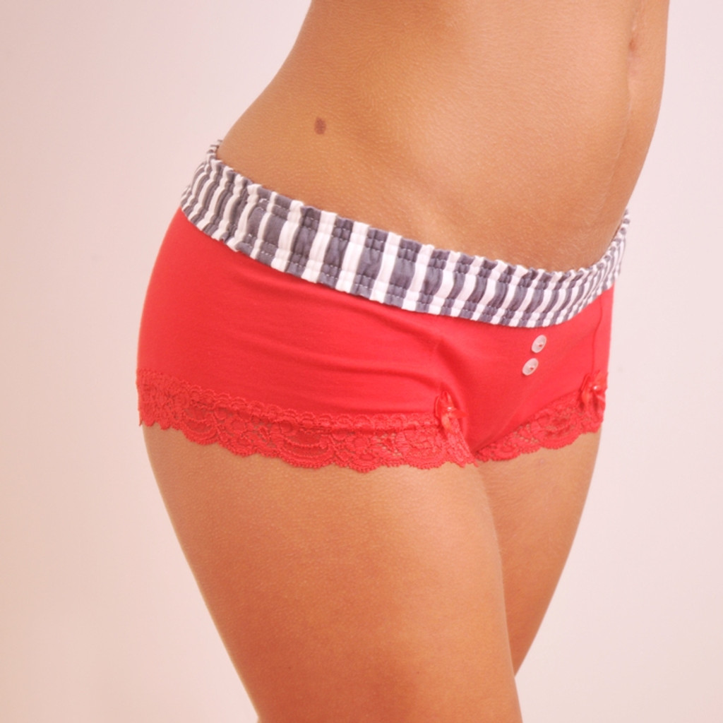 Grey Stripe / Red Boyshort